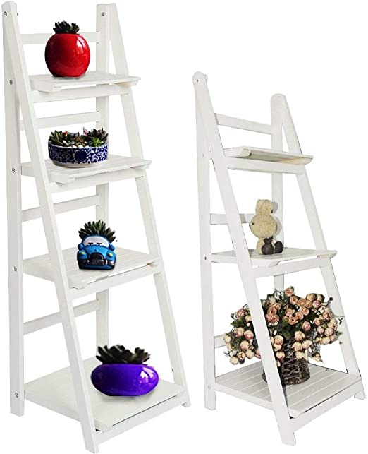 MultiWare - Estantería para libros inclinada con diseño de escalera, madera, Blanco, 3 niveles: Amazon.es: Hogar