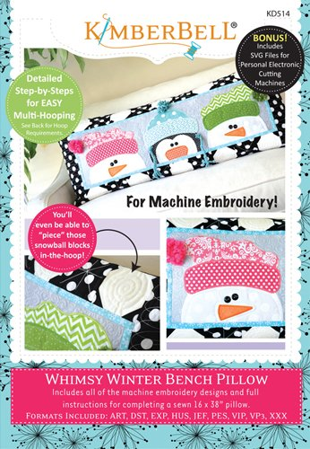 - Kimberbell Whimsy Winter Bench Pillow Embroidery CD KD514