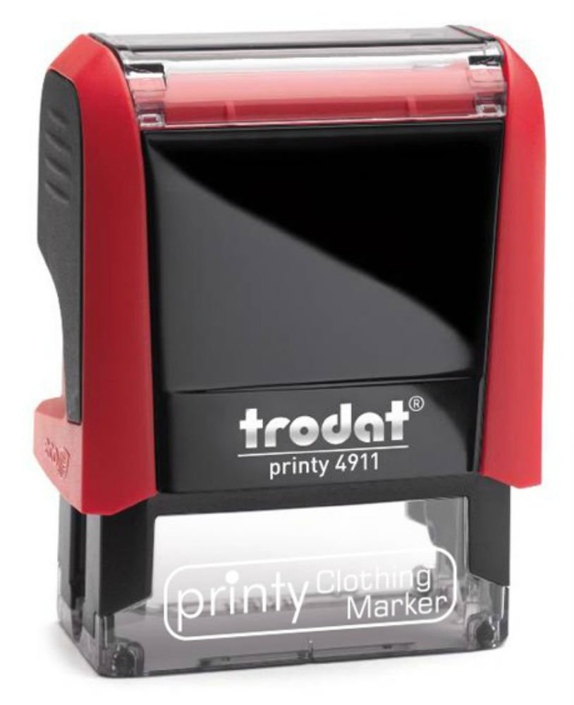 Custom Made Trodat 4911 Clothing Marker 1 Line Name Self-Inking Stamp - Black Ink