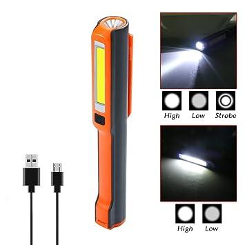 LED COB Magnet Taschenlampe Flexible Lampe Arbeitsleuchte USB Wiederaufladbar