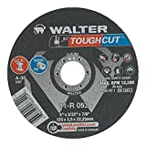 """Walter Toughcut Performance Cutting with Angle Grinders Cutoff Wheel, Type 1, Round Hole, Aluminum Oxide, 5"""" Diameter, 3/32"""" Thick, 7/8"""" Arbor, Grit A-30 (Pack of 25)"""