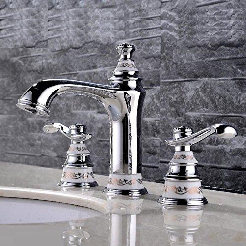 ANNTYE Waschtischarmatur Bad Mischbatterie Badarmatur Waschbecken Kupfer 2 Stück 3 Bohrungen Heißes und kaltes Wasser Chrom gebürstet Badezimmer Waschtischmischer