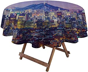 """Round Table Cove Modern for Everyday Indoor/Outdoor Dining Skyline of Seou South Korea Cityscape with Buildings Skyscrapers Urban View at Night 60"""" Diameter Multicolor"""