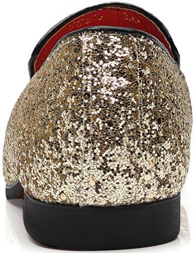 Gentle Schuhe Mall Herren Modern Metallic Slip auf Nachtclub Schuhe texturiert Glitter Pailletten Loafers Hochzeitsschuhe Gold