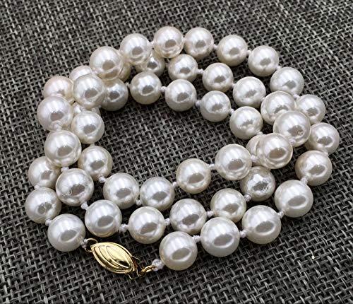 FidgetKute AAA 8MM White South SEA Shell Pearl Necklace 18