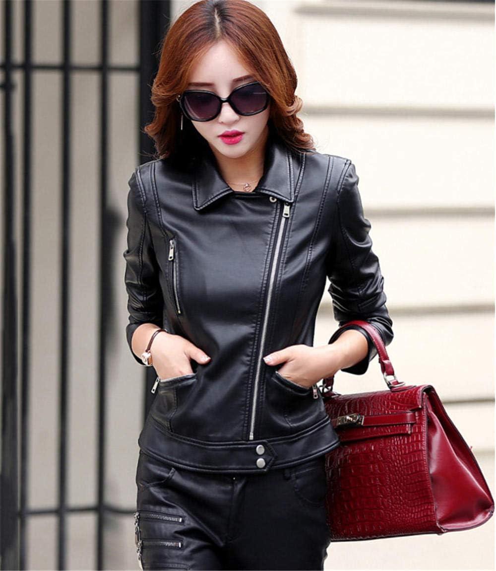 XL/_nspiyi Womens Casual Short Leather Jacket