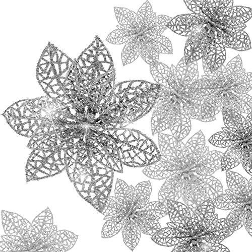 Boao 24 Pieces Glitter Poinsettia Christmas Tree Ornament Christmas Flowers Decor Ornament (Silver)
