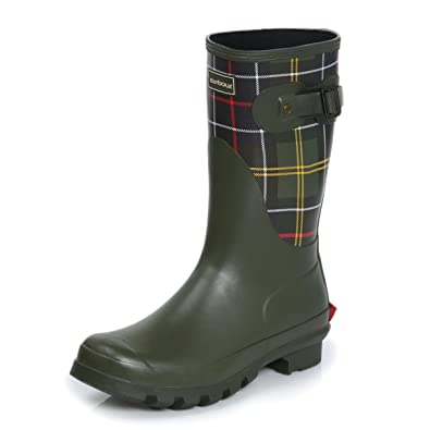 3d290ff14 Barbour Womens Short Classic Tartan Wellingtons Snow Rain Winter Boots -  Olive - 9