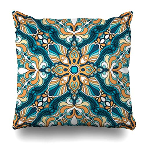 Ornamental Silk Square Scarf - Hitime Throw Pillow Cover Drawing Band Paisley Kerchief Headscarf Pattern Black Oriental Bandana Carpet Curl Decorative Pillowcase Square Size 18 x 18 Inches Home Cushion Cases