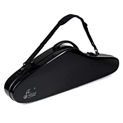 """Violin Hard Case Aileen 4/4 Full Size Luxury Fiberglass with Hygrometer Suspension, 4 Colors,""""Air"""" Series (Black)"""