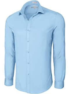 459e4ae623ae Platino de Marquis Slim Fit Cotton/Spandex Dress Shirt - Powder Blue Small  (14