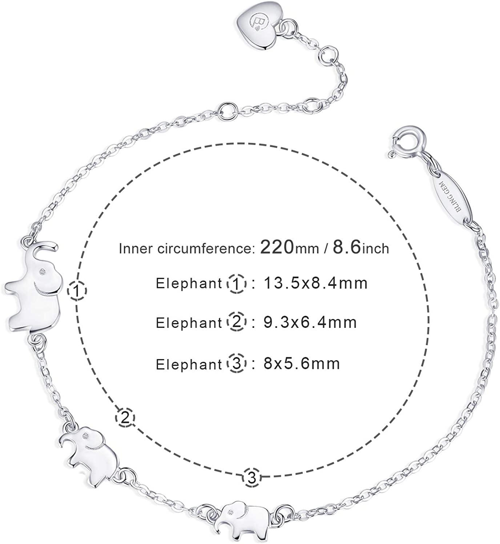 BlingGem Pulsera para Mujer Plata 925 3 Elefante Pulsera para La Familia S/ímbolo 3 Generaci/ón Joyer/ía de Animales Regalo para Madre e Hijos
