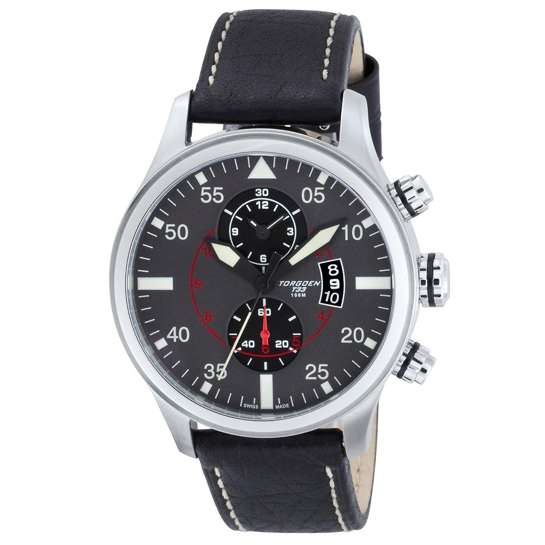 TORGOEN Swiss Herren-Armbanduhr Chronograph Quarz Leder T33102