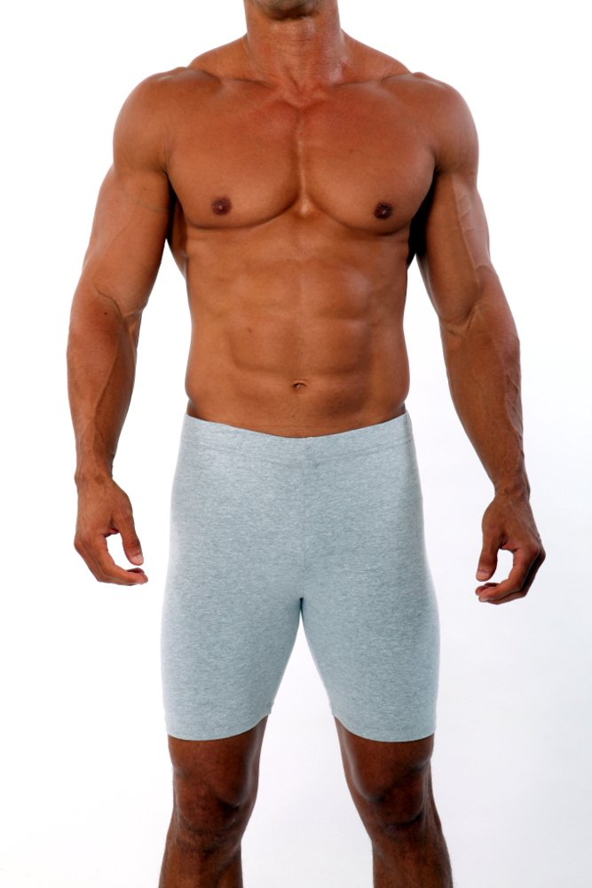 Mens Cotton Lycra Bike Short by Pitbull in Grey, Small