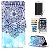 For iphone 7/iphone 8 Case and Card Holder,OYIME [Colorful Painting Pattern] Relief Design Bookstyle Leather Wallet Holster with Wrist Lanyard Kickstand Function Full Body Protection Bumper Magnetic Closure Flip Cover with Screen Protector - Blue Mandala
