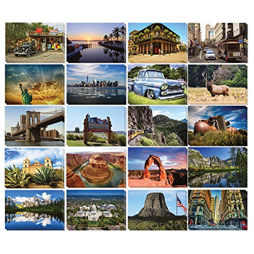 Set of 40 Postcards of America (20 Designs 2 Each) 4 x 6 Inches