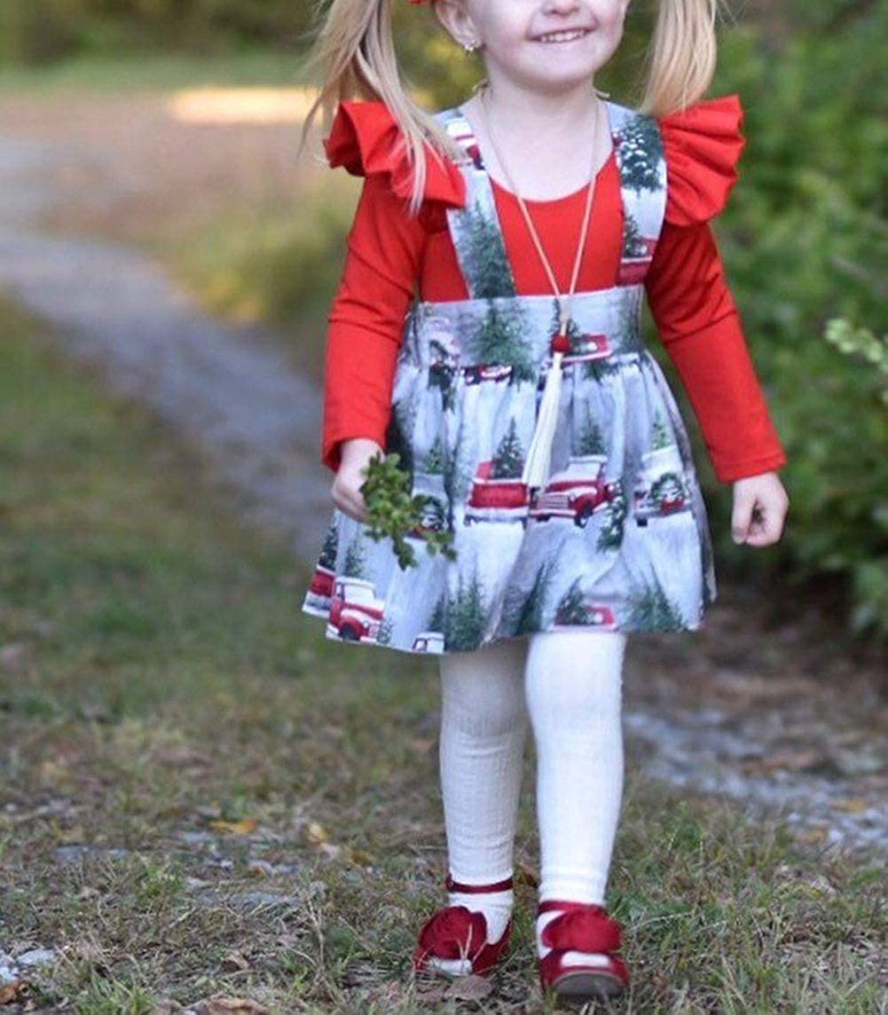 2Pcs Toddler Baby Girls Long Sleeve Romper Top+Overalls Skirt Dress Christmas Outfits