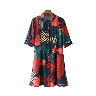 Lovely-Shop Fashion Casual Dress Vintage Floral Pattern Mini Dress Half Sleeve Collar Straight Dresses Vestidos at Amazon Womens Clothing store: