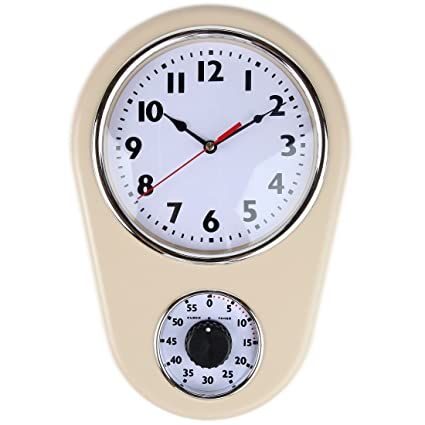 Amazoncom Retro Kitchen Timer Wall Clock By Lilys Home Ivory
