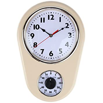 Retro Kitchen Timer Wall Clock. By Lilyu0027s Home (Ivory)