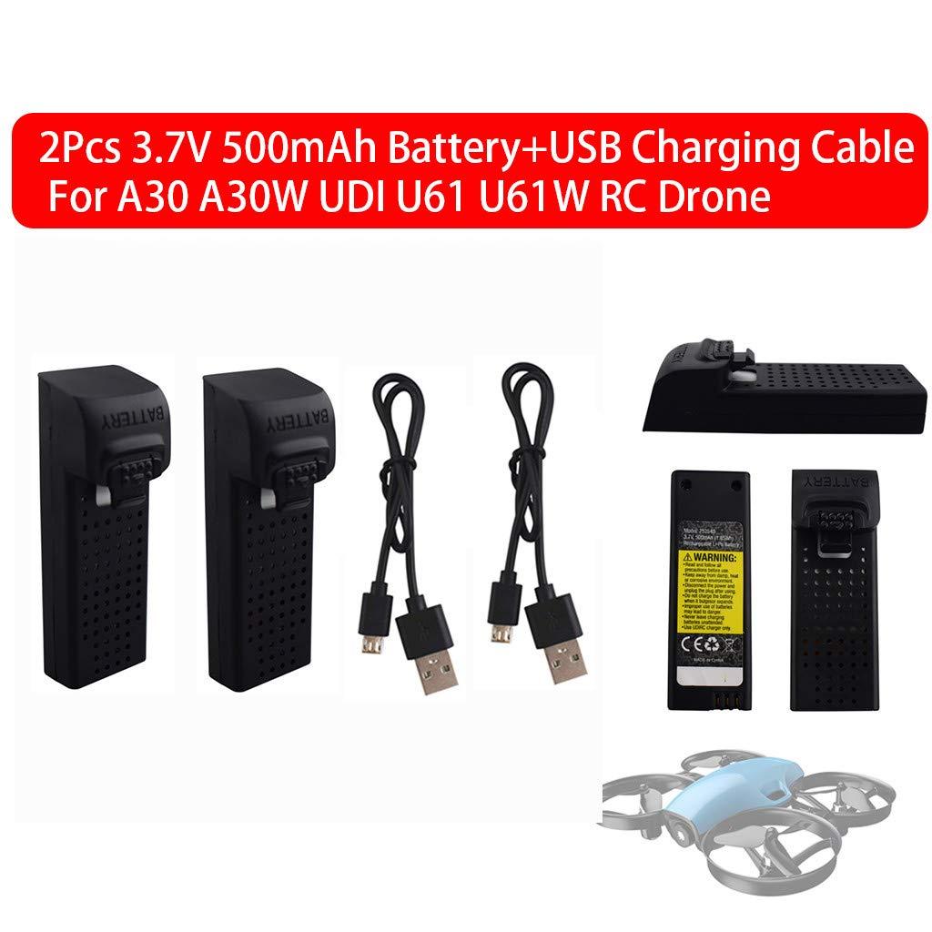 2 baterías de 3,7 V 500 mAh + cable de carga USB para dron A30 ...