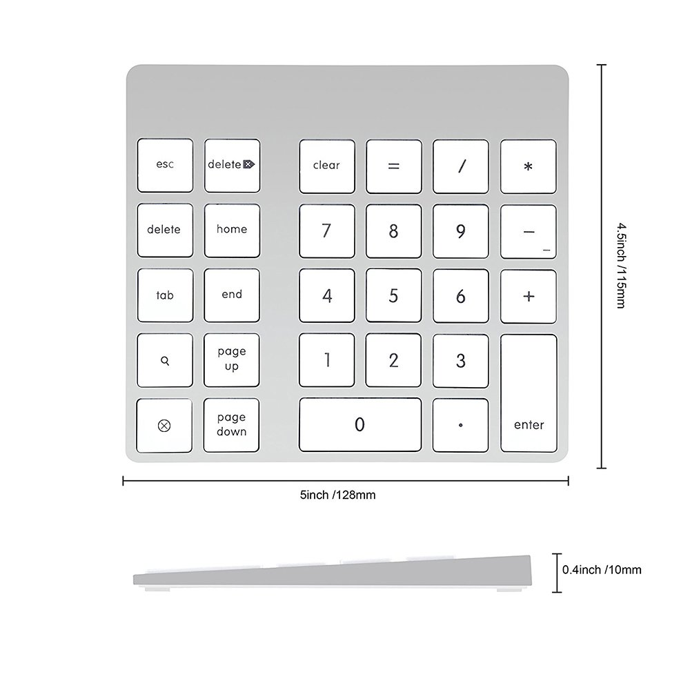 Cateck 28-Key Rechargeable Aluminum Bluetooth Wireless Keypad Number Pad Keyboard for iMac, MacBook Air, MacBook Pro, MacBook, and Mac Mini by Cateck (Image #5)