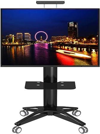 ZAQI - Soporte de TV con Ruedas para Pantalla Plana de 32 a 70 Pulgadas (32 a 70 Pulgadas, Pantalla LCD LED, Altura Ajustable), Color Negro: Amazon.es: Hogar