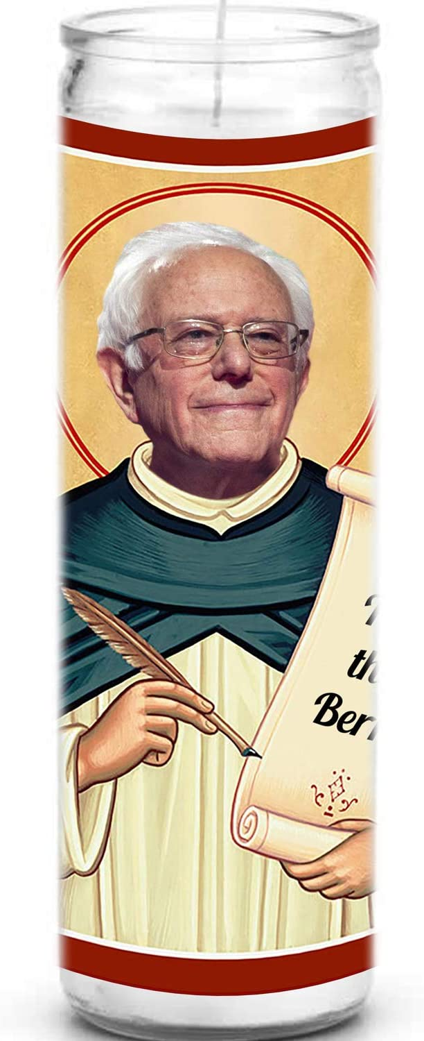 White Novelty 8 inch Unscented Glass Political Gift Funny Inauguration Sitting Saint Mittens Bernie Sanders Celebrity Prayer Devotional Parody Candle Feel the Bern