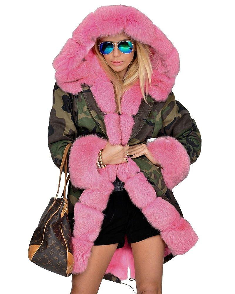 Roiii - Abrigo con estampado de camuflaje, cálido, forro de piel sintética, con capucha