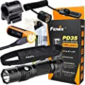 EdisonBright Fenix PD35 TAC 1000 Lumen CREE LED Tactical Flashlight with USB Rechargeable, Weapon Mount kit USB Charging Cable Bundle