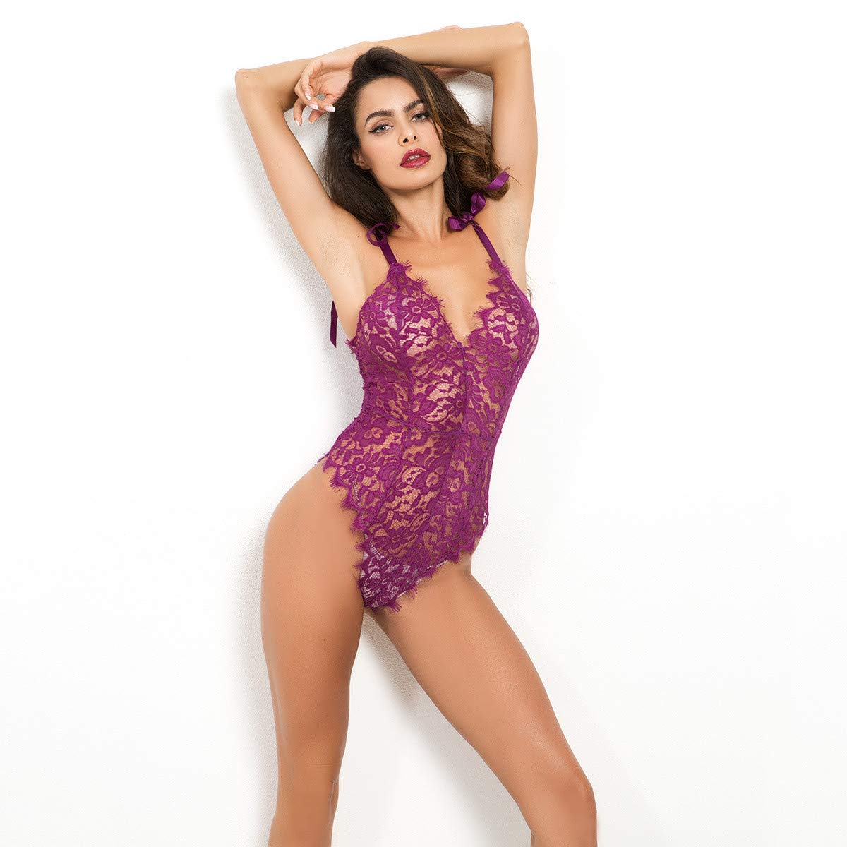 Amazon.com: Lingerie,Clearence Womens Lingerie KpopBaby Lace Sexy Nightgown Passion Deep V Halter Babydoll G-String Dress Embroidery Bras Set: Clothing
