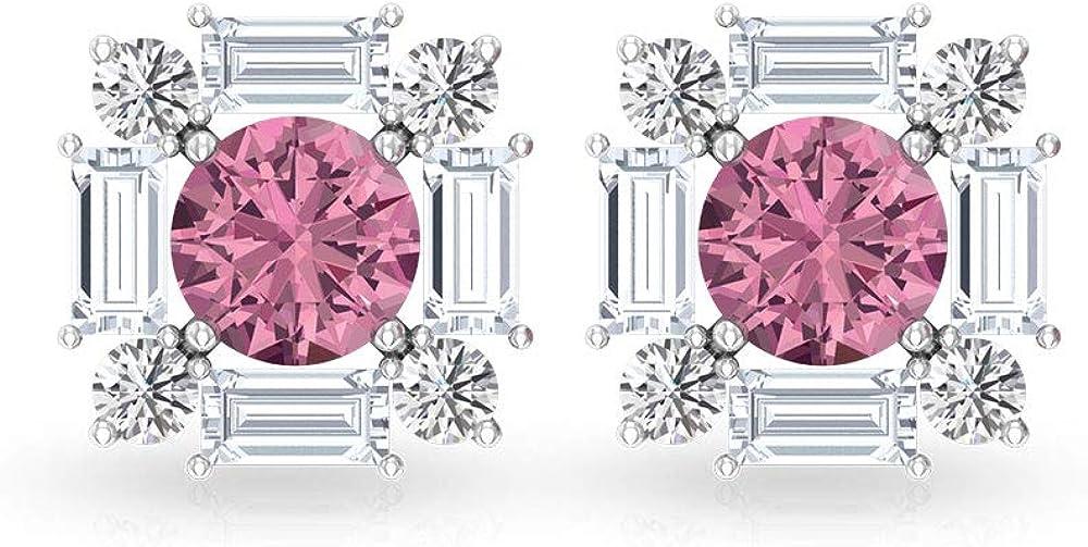 Pendientes de tuerca de turmalina de 0,48 ct, declaración de diamante IGI certificado de boda, solitario halo nupcial pendientes con diamante IJ-SI, tornillo hacia atrás