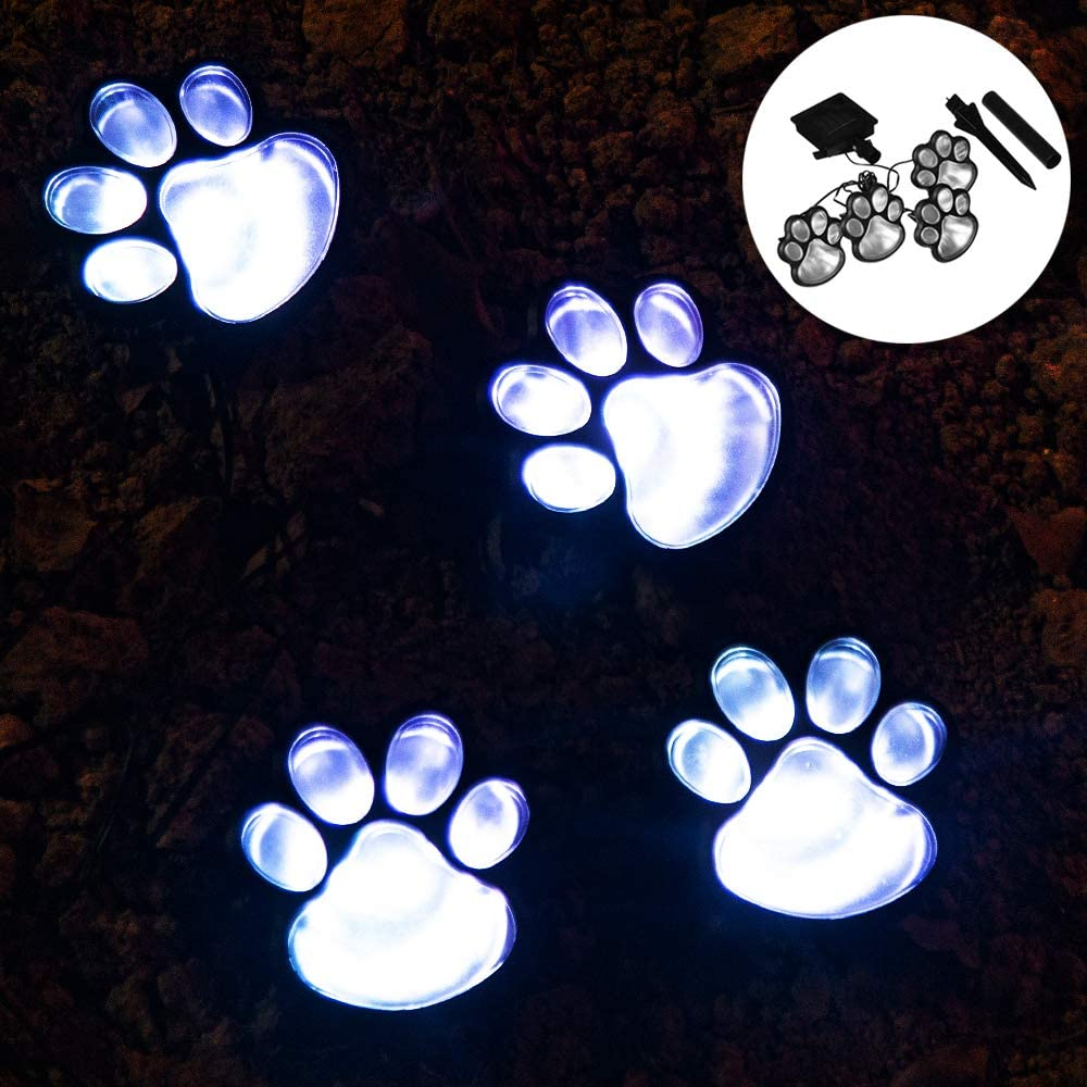 Outdoor LED Solar Garden Path Lawn Yard Decor Lamp, Solar Dog Cat Animal Paw Print Lights (Solar Paw)