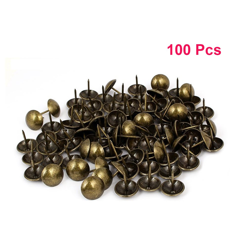 Sydien 100 Pcs Upholstery Nails Metal Domed Head Upholstery Tack Furniture Tacks 22mm x 19mm (Bronze)