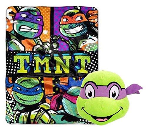 Teenage Mutant Ninja Turtles Plush Blanket and Face Pillow Toy - Kids (Ninja Turtles Face)