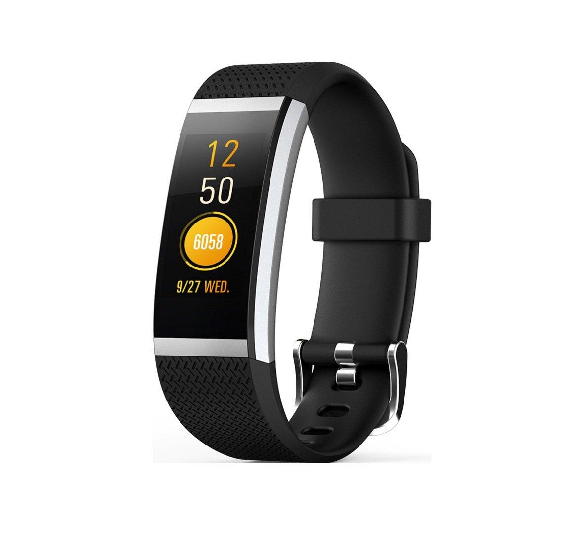 Neue Farbe Smart Watch Armband Dynamische Sport Herzfrequenz Kompatible Plattform Android, IOS Armband Schlaf Überwachung Wasserdicht PedometerHDWY (Farbe : Schwarz)
