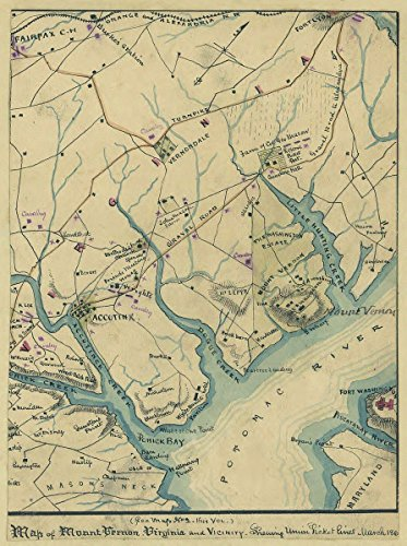 Historic 1861 Map | Map of Mount Vernon, Virginia and Vicinity : shewing [sic] Union Picket Lines, March 186[1]. 18in x 24in