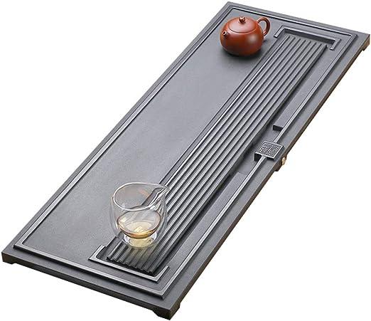Juegos de té Bandeja de te té de Piedra mar Casa Sencilla Bandeja Rectangular de Mesa de té, Drenaje Suave Servicio de té y café (Color : Black, Size : 80cm*30cm*3cm): Amazon.es: