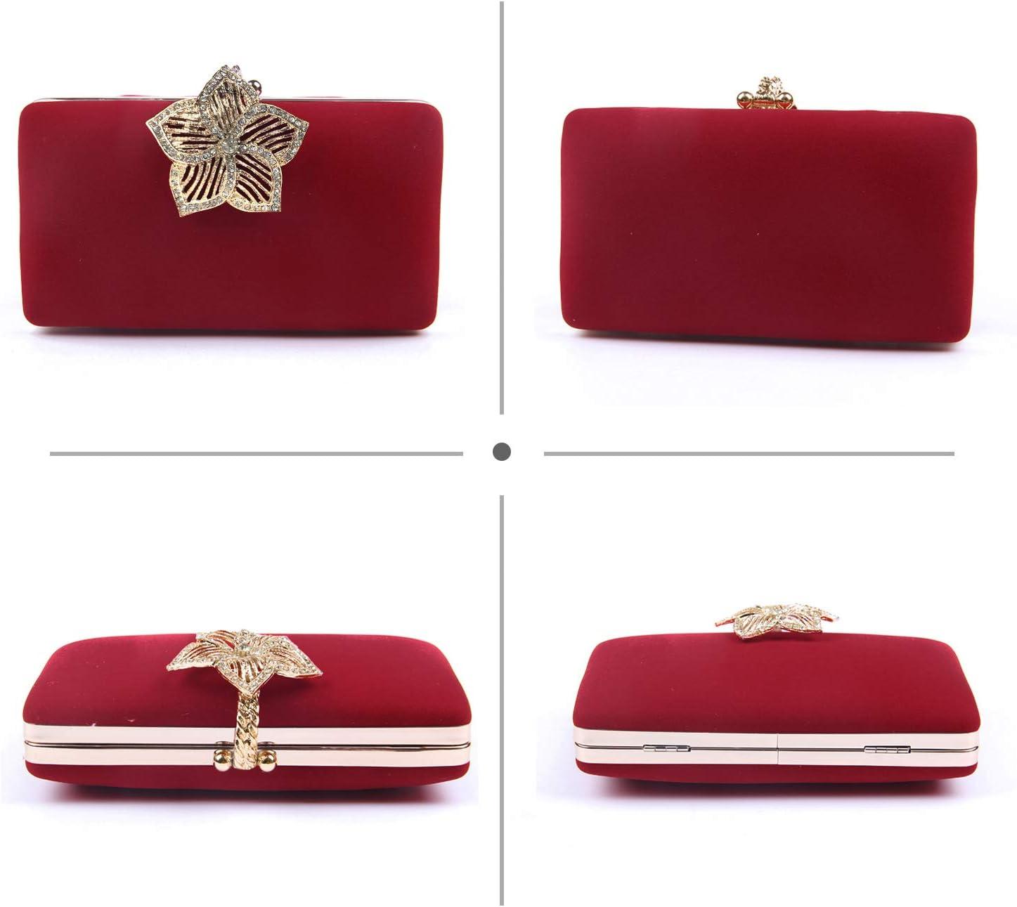 Jywmsc Femme Sac de Soir/ée de Mariage dembrayage Portefeuille Coque Cristal Diamant Sac /À Main pour Fille Rouge