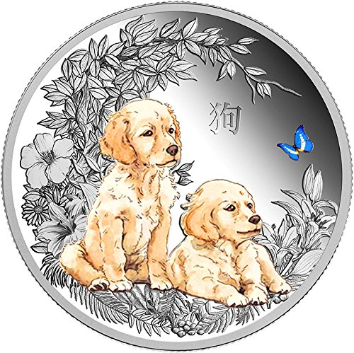 2018 TD Modern Commemorative PowerCoin DOG Coloured Lunar Series 1 Oz Silver Coin 1000 Francs Chad 2018 Proof by...