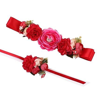 17YEARS - Cinturón de flores precioso, cinturilla y brazalete florales para vestidos de novia,