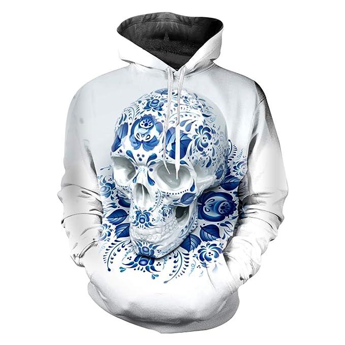 Calaveras Sudadera con Estampado en 3D Calaveras Azules Streetwear ...