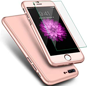 For Apple iPhone 8 Plus Case, iPhone 7 Plus Case, ANOLE 360 Full Body Protection 2in1 Ultra Thin PC Shell with [Tempered Glass Screen Protector] Matte Hard Plastic Cover & Skin 5.5 Inch _Rose Gold