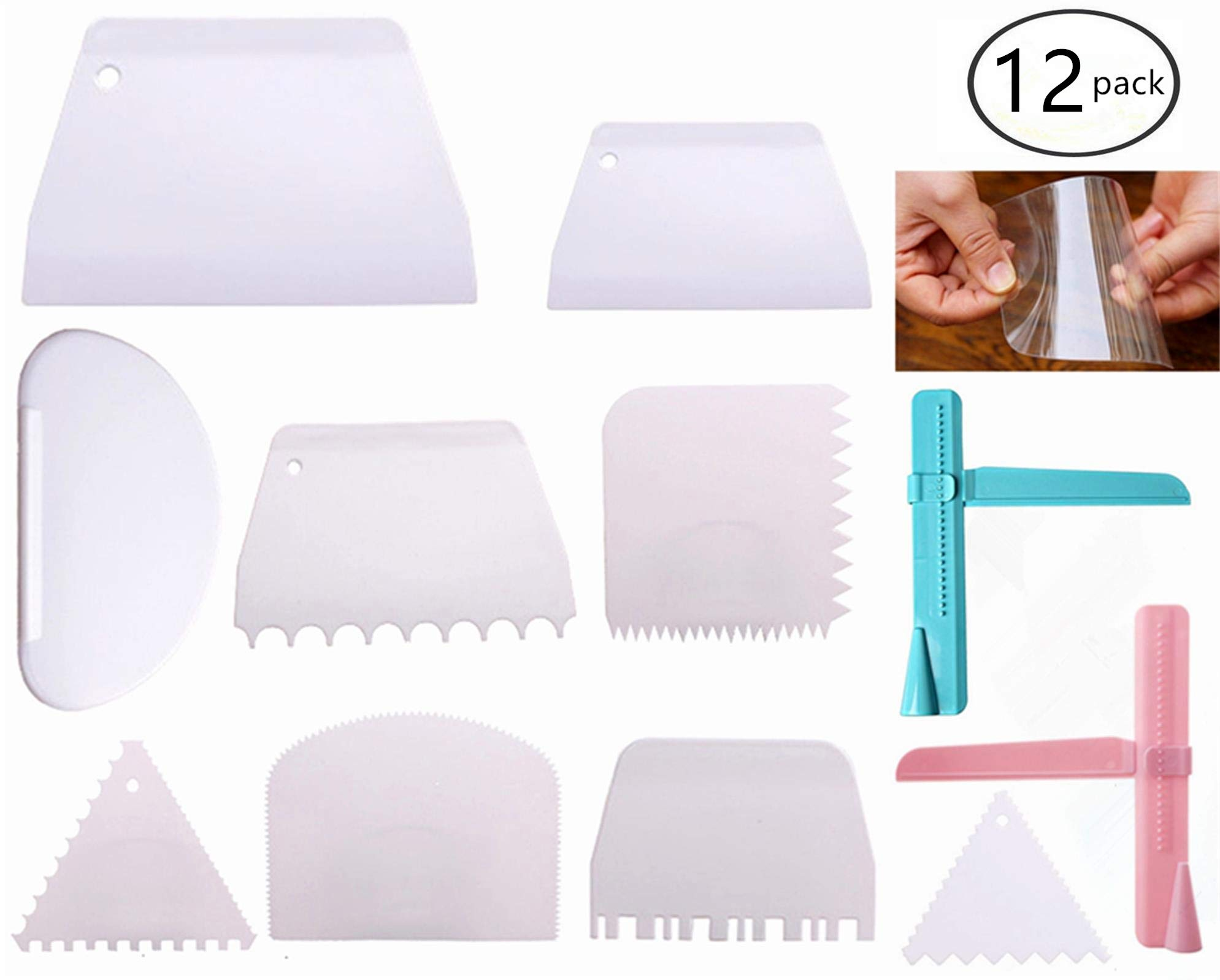 stbeyond 12 Pcs Cake Scraper Smoother Set - 2pcs Adjustable Cake Smoother Polisher with 10pcs Different Dough Scraper Tools for Smoothing Cakes Buttercream Edge