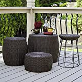 Household Essentials ML-5005 Resin Wicker Footstool Ottoman | Brown