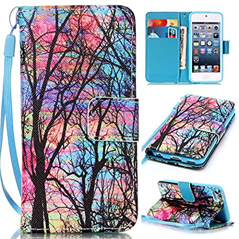 iPod Touch 6 Cases, iPod Touch 5 Wallet Case,Beimu [Card Slots] [Wristlet Strap] [Money Pocket] PU Leather Flip Wallet Case with ID&Credit Card Holder for iPod Touch 6th/5th (Ipod 6th Generation Strap)