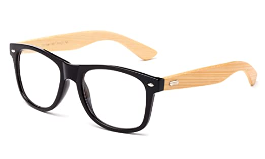 Amazon.com: Newbee Fashion - Real Bamboo Temples Clear Frames ...