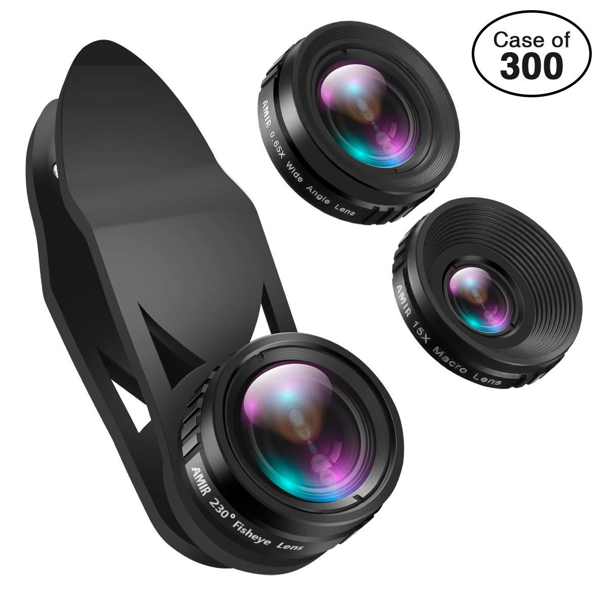 Case of 300 Packs, Phone Camera Lens, 230°Fisheye Lens + 0.65X Super Wide Angle Lens + 15X Macro Lens, Clip on 3 in 1 HD for iPhone Lens Kit for iPhone, Smartphones