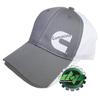 42dbf5b1a Cummins Base Ball Cap Hat Diesel Gear Dodge Baseball Poly Mesh Gray White