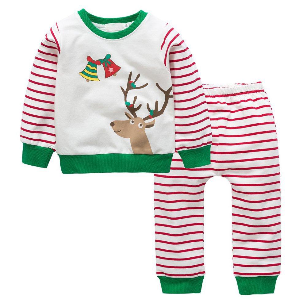 Pigiami di Natale dei bambini, Brightup Ragazzine bambine manica lunga top e Babbo Natale pantaloni/stripe da notte set